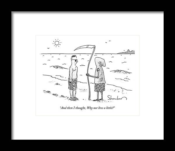 Death Framed Print featuring the drawing Grim Reaper Wearing A Swimsuit At The Beach. by Danny Shanahan