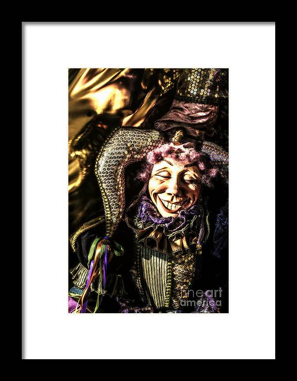 New Orleans Framed Print featuring the photograph Grinning Mardi Gras Jester by Frances Ann Hattier