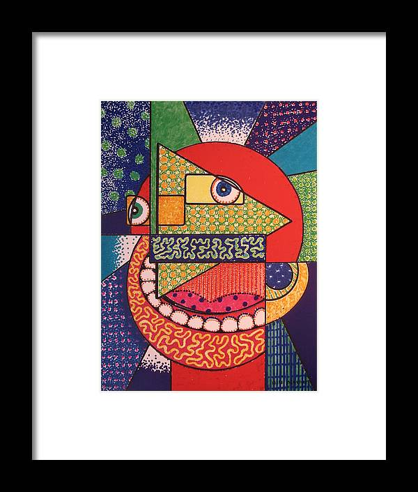 Cubism Framed Print featuring the painting Grinning Redneck by Bill Meeker