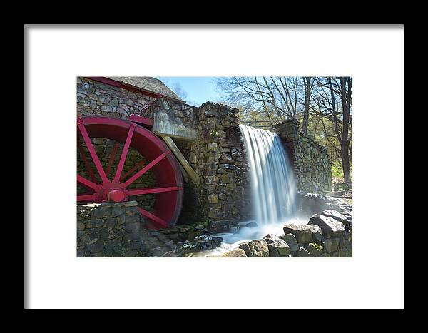 Wayside Inn Sudbury Grist Mill Water Waterwheel Wheel River Stream Sky Trees Grass Reflection Ma Mass Massachusetts New England Newengland U.s.a. Usa Brian Hale Brianhalephoto Nature Natural Outside Outdoors Clouds Long Exposure Waterfall Falls Stone Wall Architecture Building Framed Print featuring the photograph Grist Mill 2 by Brian Hale