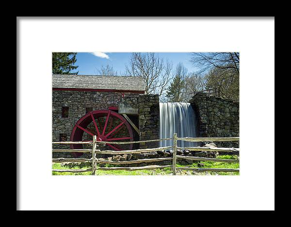 Wayside Inn Sudbury Grist Mill Water Waterwheel Wheel River Stream Sky Trees Grass Reflection Ma Mass Massachusetts New England Newengland U.s.a. Usa Brian Hale Brianhalephoto Nature Natural Outside Outdoors Clouds Long Exposure Waterfall Falls Stone Wall Architecture Building Framed Print featuring the photograph Grist Mill 5 by Brian Hale