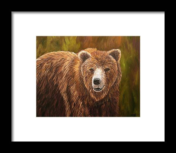 Bear Framed Print featuring the painting Grizzley by Mary Jo Zorad