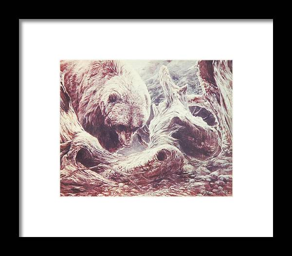 Bear Framed Print featuring the painting Grizzly Bear by Steve Greco