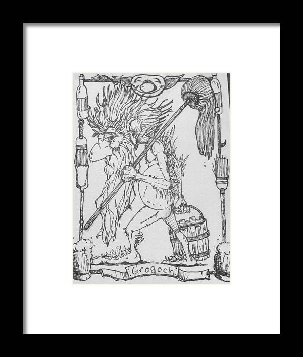 Fae Framed Print featuring the drawing Grogoch by Jason Strong