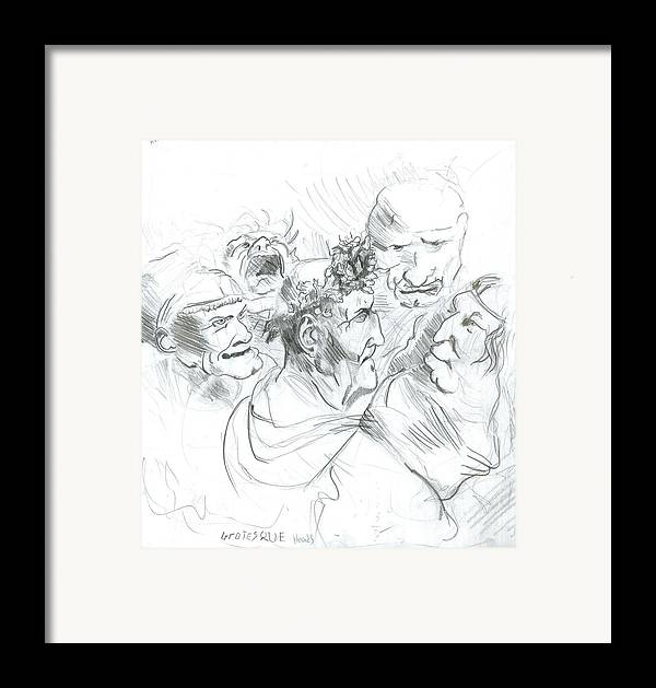 Framed Print featuring the drawing Grotesque Heads by Joseph Arico