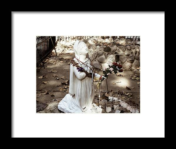 Photography Grotto Notre Dame Flowers Candles Rocks Bernadette Statue Prints Posters Greeting Cards Framed Print featuring the mixed media Grotto Nd by Connie Dye