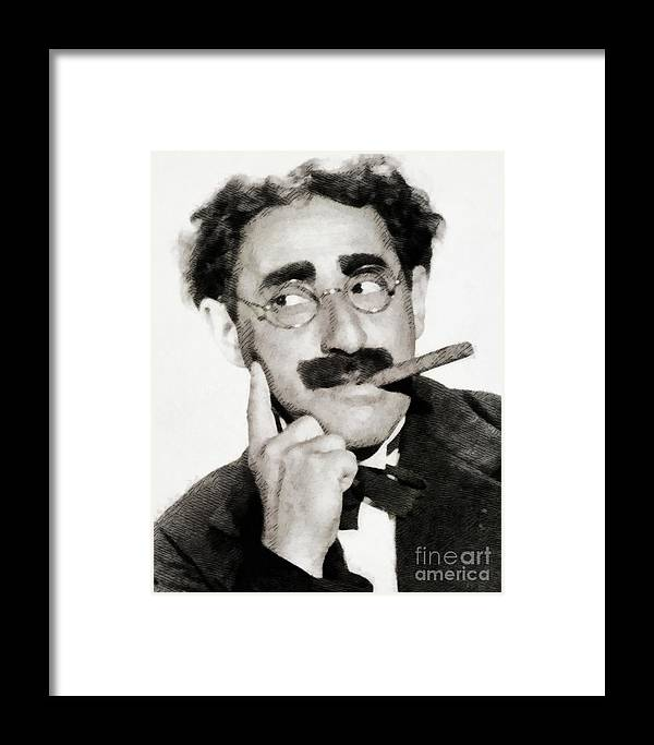 Groucho Framed Print featuring the painting Groucho Marx, Vintage Comedy Actor by John Springfield