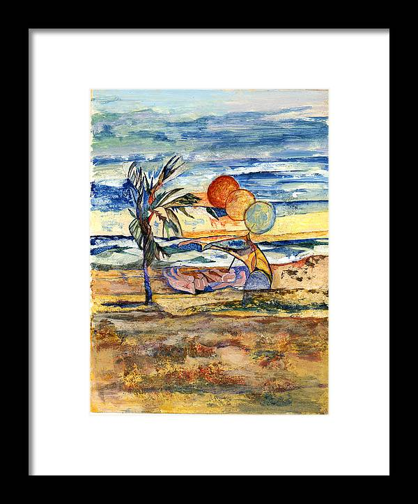 Seascape Framed Print featuring the painting Group At The Beach by Lily Hymen