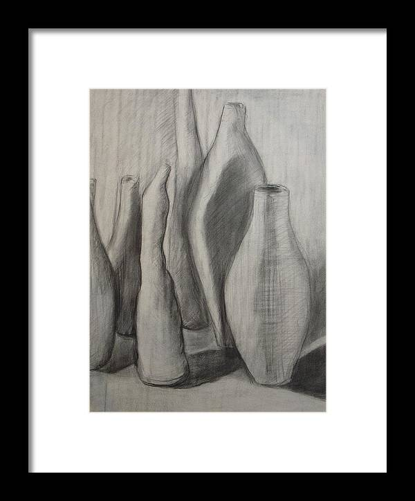 Original Drawing Leilaatkinson Pencil Vessels Bottles Framed Print featuring the drawing Group Of Vessels by Leila Atkinson