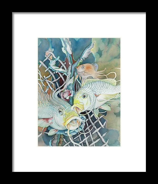 Fish Framed Print featuring the painting Groupers And Their Friends by Liduine Bekman
