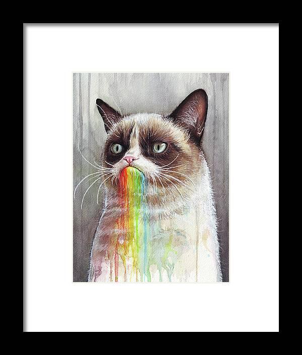 Grumpy Cat Framed Print featuring the painting Grumpy Cat Tastes The Rainbow by Olga Shvartsur