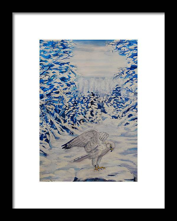 Winter Scenes Framed Print featuring the painting Gryfalcon In Taos by George Chacon