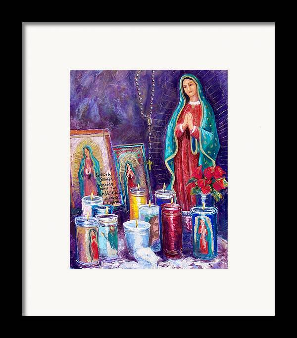 Guadalupe Framed Print featuring the pastel Guadalupe Y Las Velas Candles by Candy Mayer