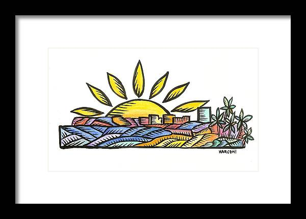 Framed Print featuring the painting Guam Sunset 2009 by Marconi Calindas