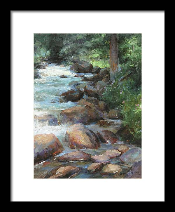 Guanella Pass Framed Print featuring the painting Guanella Pass Stream by Anna Rose Bain