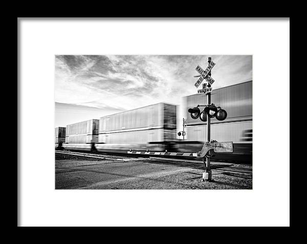 Railroad Framed Print featuring the photograph Guarded Crossing by Matt Hammerstein