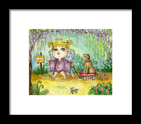 Angel Framed Print featuring the painting Guardian Angel Kindness by Carolyn Hope