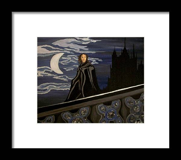 Night Framed Print featuring the painting Guardian by Carolyn Cable