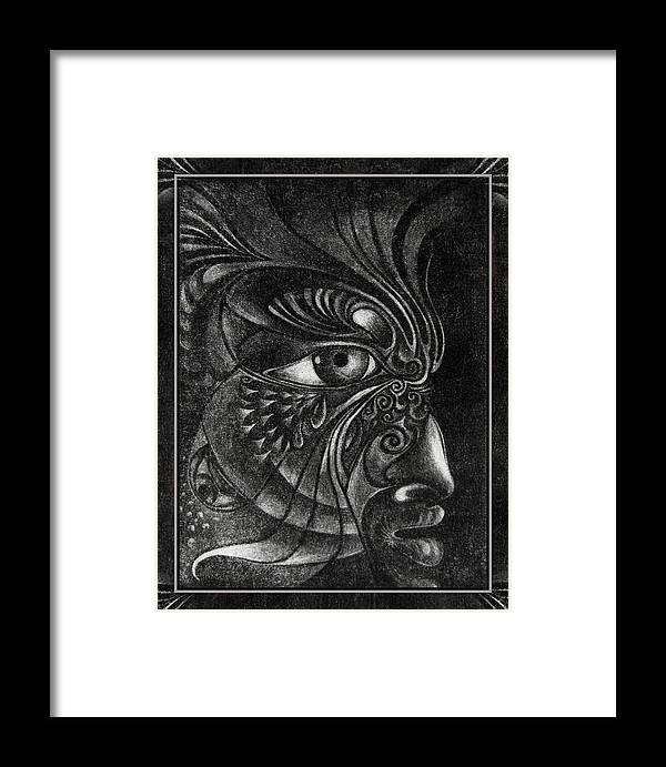 Mezzotint Framed Print featuring the drawing Guardian Cherub by Otto Rapp