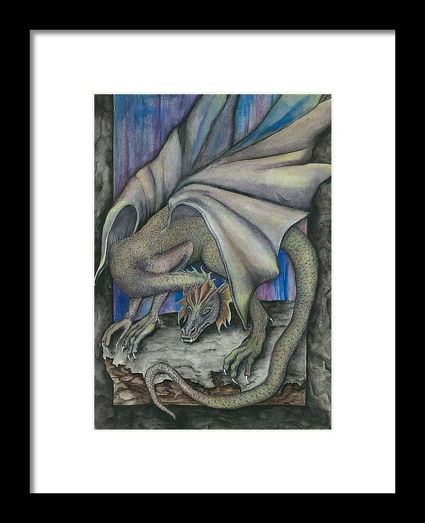 Dragon Framed Print featuring the painting Guardian Dragon by Sally Balfany