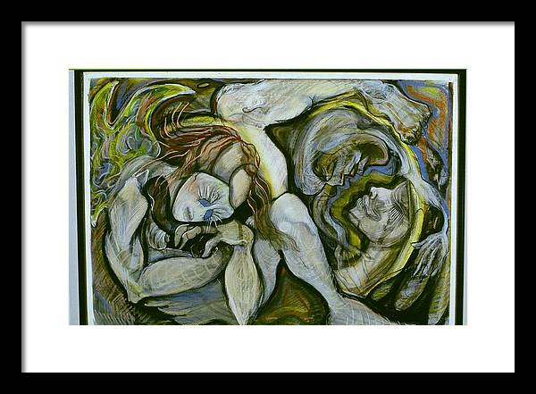 Abstract Figure Framed Print featuring the mixed media Guardian by Michelle Spiziri