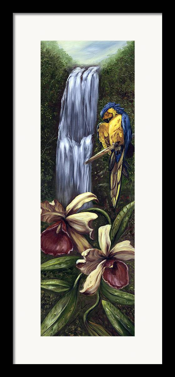 Birds Framed Print featuring the painting Guardian Of The Falls by Anne Kushnick