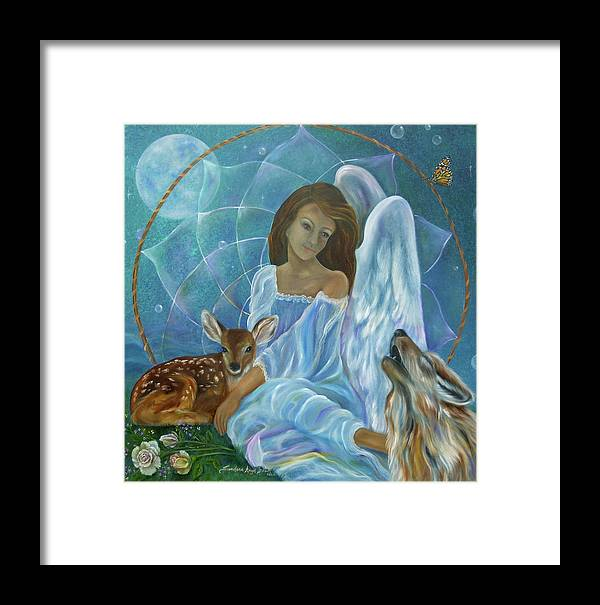 Angel Framed Print featuring the painting Guardian Of Truth by Sundara Fawn
