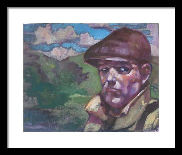 Figure Framed Print featuring the painting Guarding The Mountain Pass by Kevin McKrell