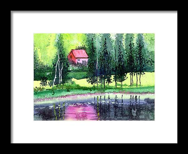 Landscape Framed Print featuring the painting Guest House by Anil Nene