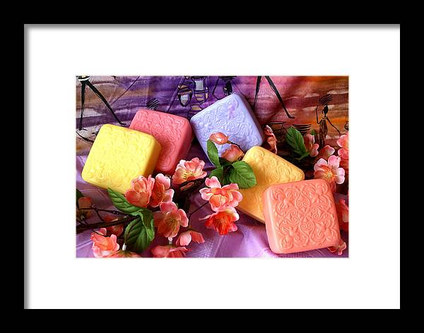Product Framed Print featuring the photograph Guest Soaps by Sonja Anderson
