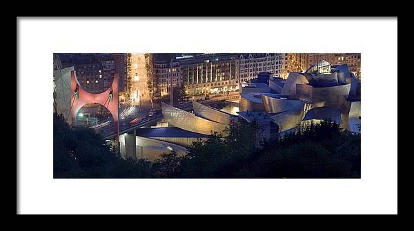 Spain Framed Print featuring the photograph Guggenheim At Night by Rafa Rivas