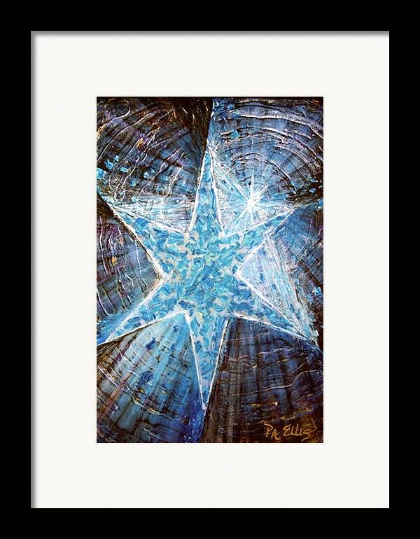Heavy Texture Mosaic Six Point Star Multi Level Blue Framed Print featuring the painting Guiding Light by Pam Ellis
