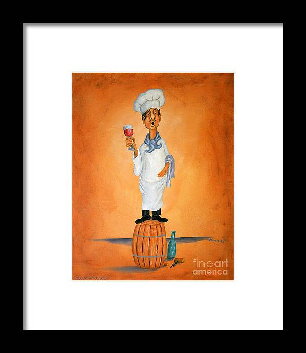 Singing Chef On A Barrel Drinking Red Wine Framed Print featuring the painting Guido Bessa Pucci by Barney Napolske