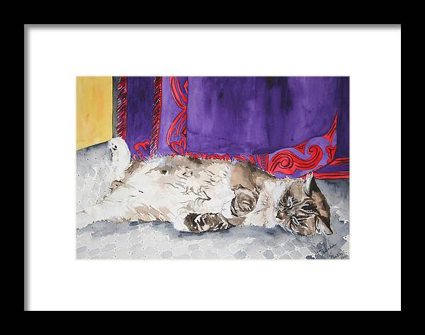 Cat Framed Print featuring the painting Guilley by Jean Blackmer