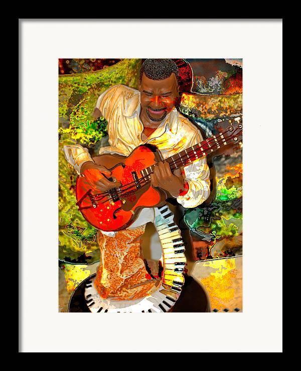 Music Framed Print featuring the digital art Guitar And Keys by Danielle Stephenson