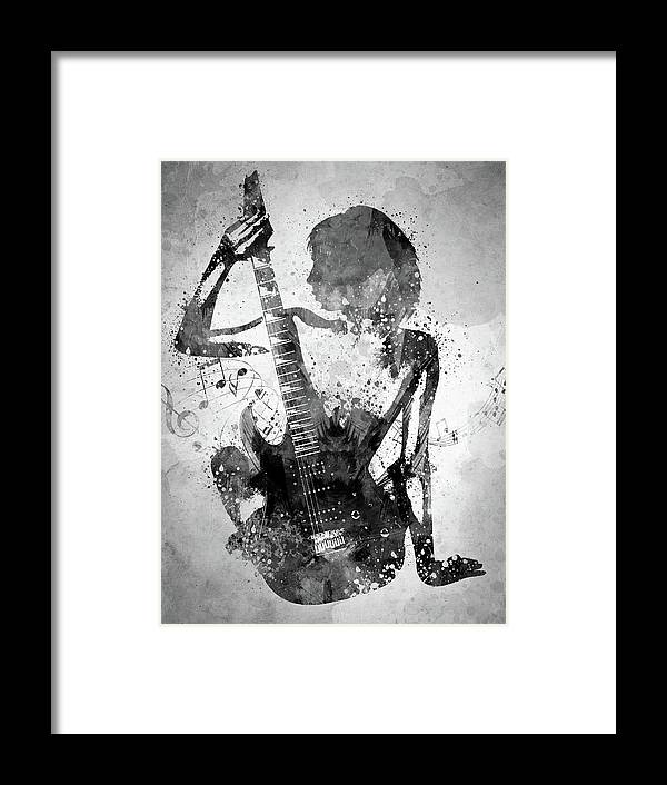 Guitar Framed Print featuring the digital art Guitar Girl Black And White by Aged Pixel