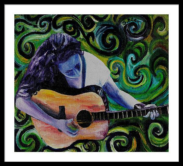 Decorative Surreal Music Framed Print featuring the painting Guitar Heroine by Stephanie Cox