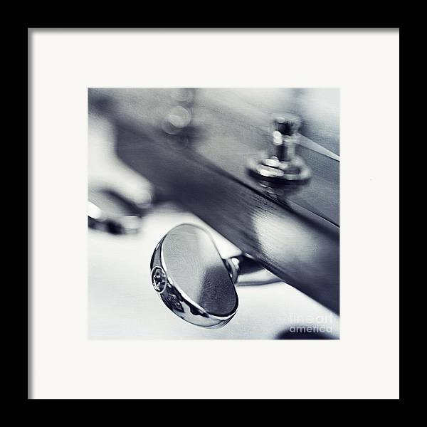 Black Framed Print featuring the photograph guitar I by Priska Wettstein