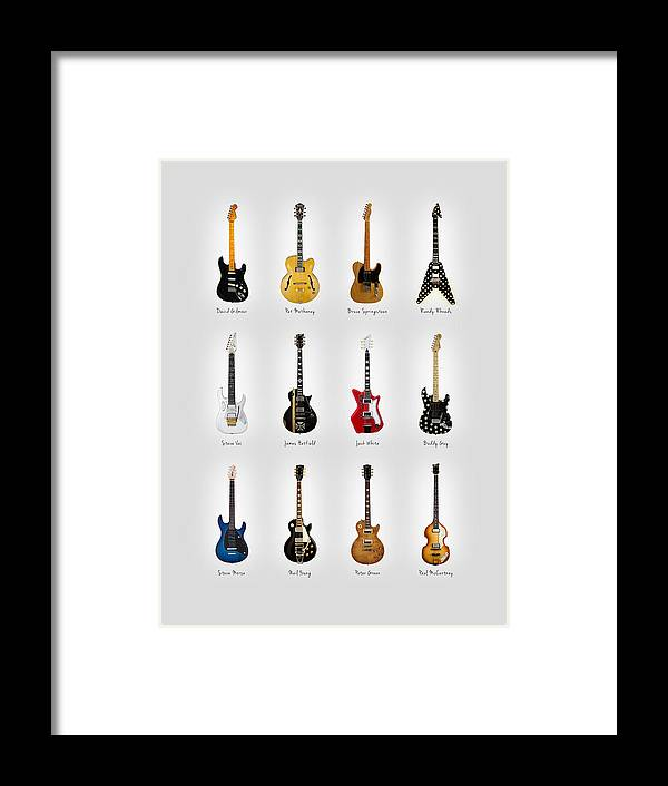 Fender Stratocaster Framed Print featuring the photograph Guitar Icons No2 by Mark Rogan