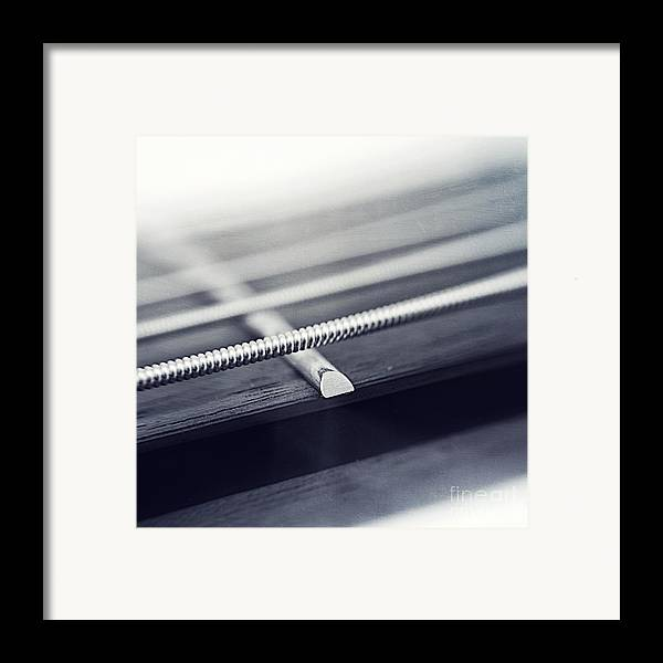 Black Framed Print featuring the photograph guitar IV by Priska Wettstein
