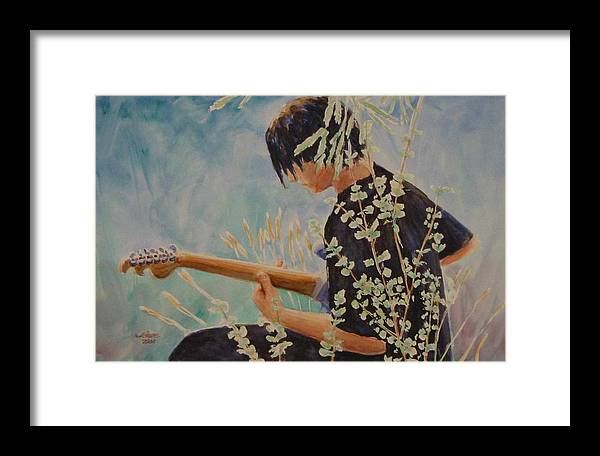Guitar Player Framed Print featuring the painting Guitar Man by Jerry Cave