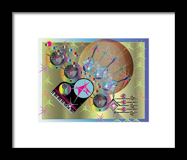 Guitar.giclee Framed Print featuring the digital art Guitar Music With Piano by George Pasini