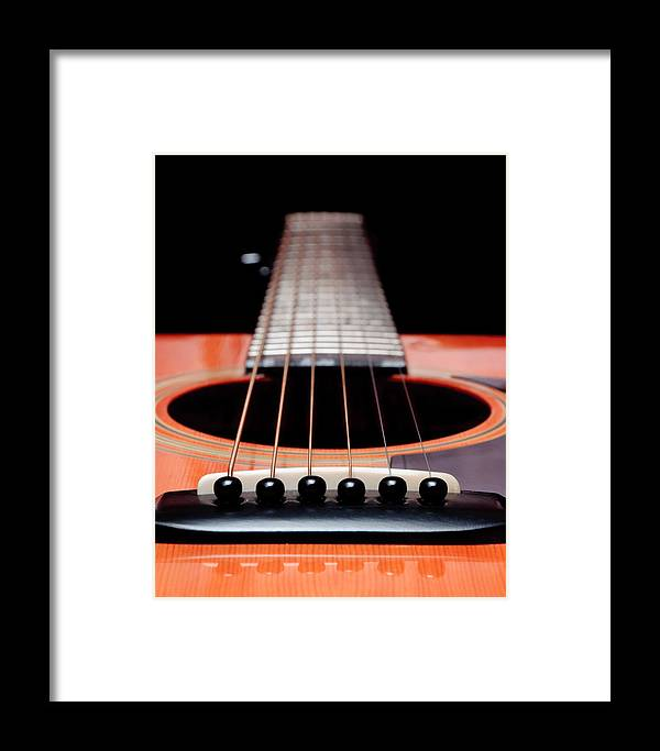Andee Design Guitar Framed Print featuring the photograph Guitar Orange 19 by Andee Design