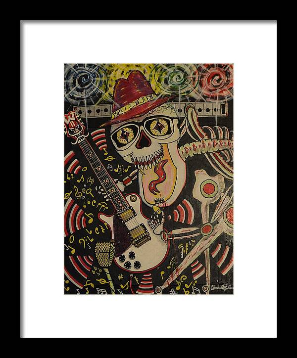 Art Framed Print featuring the painting Guitar Playing Skeleton 3 by Charles Fuller