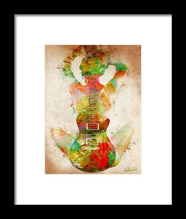 Guitar Framed Print featuring the digital art Guitar Siren by Nikki Smith