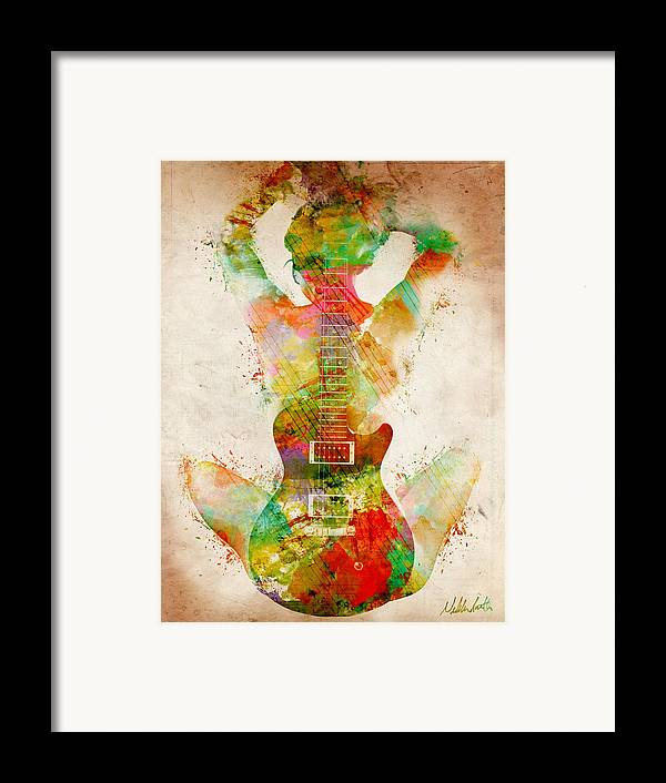 Guitar Framed Print featuring the digital art Guitar Siren by Nikki Smith