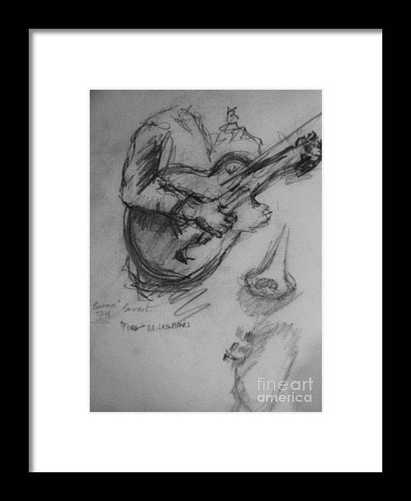 Guitarist Drawing Framed Print featuring the drawing Guitarist by Jamey Balester