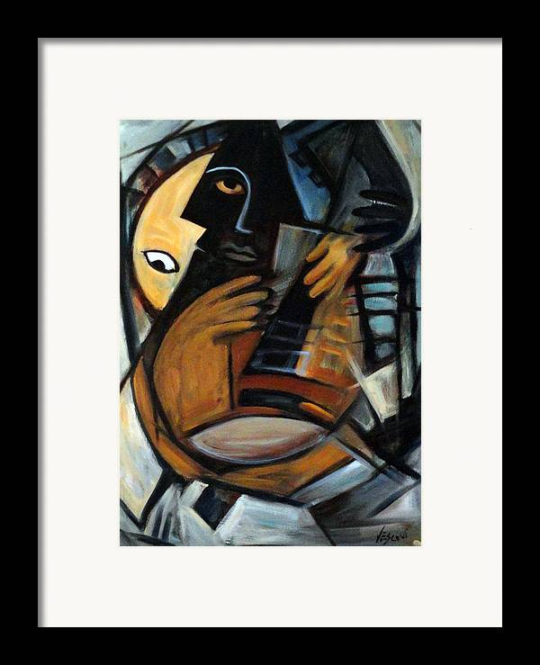 Cubism Framed Print featuring the painting Guitarist by Valerie Vescovi