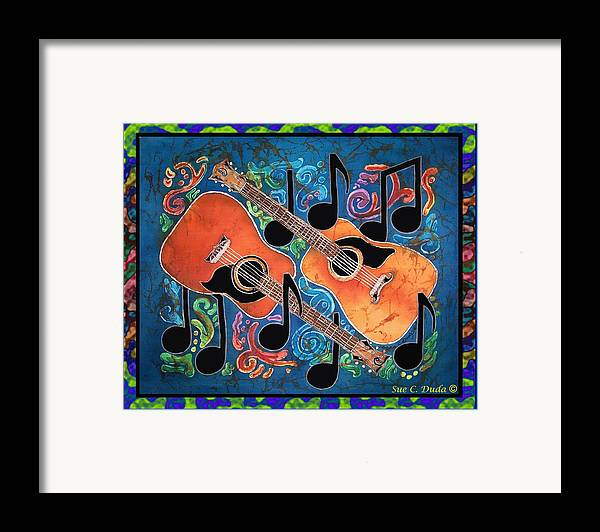 Guitar Framed Print featuring the painting Guitars - Bordered by Sue Duda