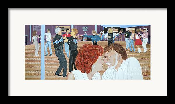 Dance Framed Print featuring the painting Guitars And Cadillacs Omaha by Christine Belt